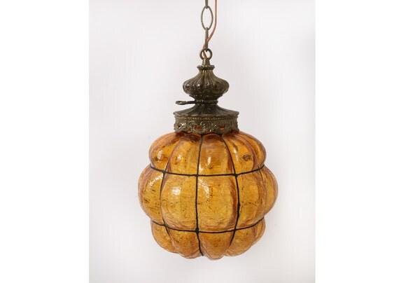 mid century boho hanging ceiling light pendant amber crackle. Black Bedroom Furniture Sets. Home Design Ideas