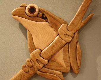 Natural Wood Frog Intarsia