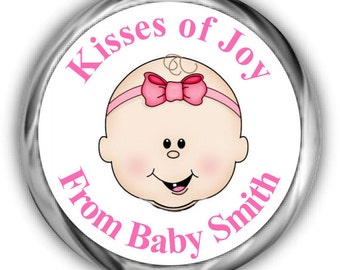 Girl Face Baby Shower Hershey Kisses Stickers • Personalized Baby Shower Sticker