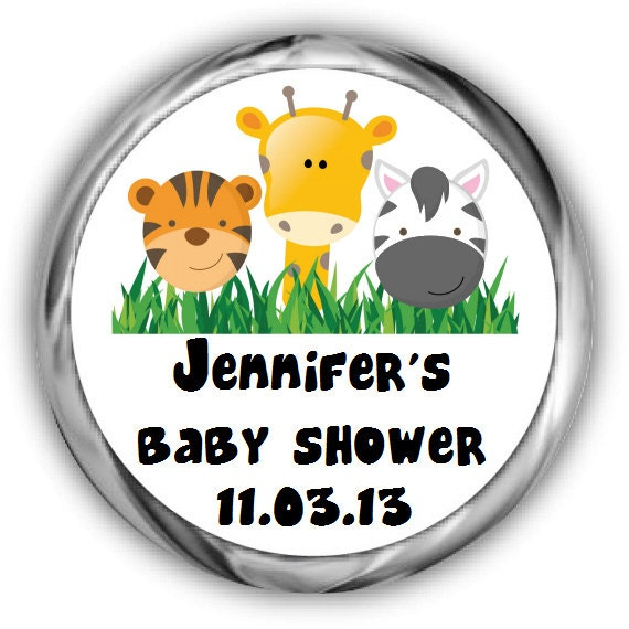 Baby Shower Hershey Kisses Stickers - Personalized Jungle Baby Shower ...