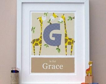 Personalized art - G is for Giraffe- unique nursery wall art