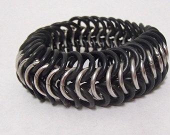 Bracelet - Black and Silver European Stretch Bracelet
