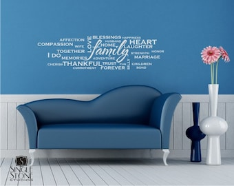 Family Wordle Wall Decal - Vinyl Text Wall Quotes
