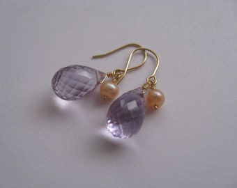 Lilac Amethyst and Peach Pearl Pierce