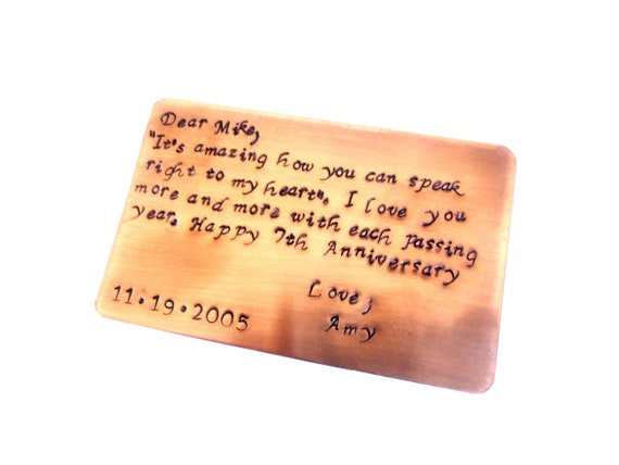 Copper Wallet Insert Card 7th Year Anniversary Stamped Card, Create Your Own Message, Personalized, Standard Credit Card Size, Gift For Him