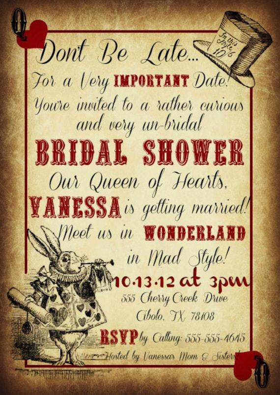 Printable Mad Hatter Tea Party Custom Invitations
