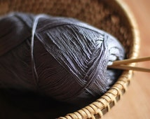 Cotton double twist yarn  - grey  - mercerized cotton yarn, lace weight yarn - 500m