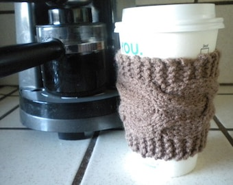 Hand Knit Cabled Coffee Cup Cozy, Sleeve - Mocha
