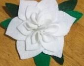 "4"" Felt Flower Brooch. White Gardenia. Holiday Pin."