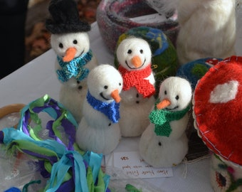 Needle Felted Snowman waldorf inspired