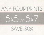 Fine Art Photo Prints, Choose Any Four 5x5 or 5x7 Photographs, Wall Decor