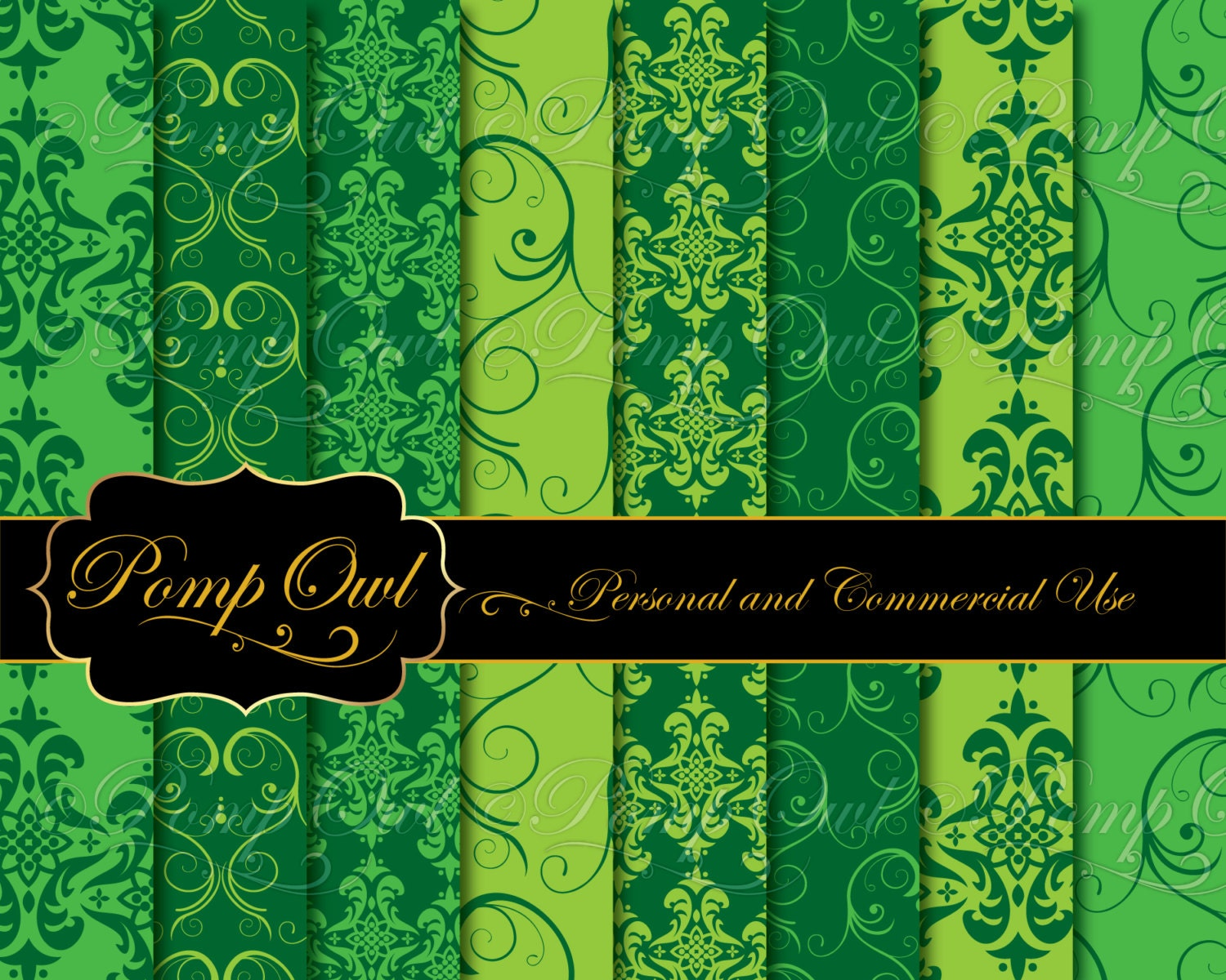Digital Papers Damask Backgrounds Christmas Tree Green 8 5