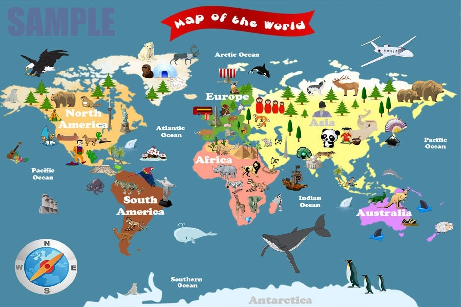 Personalized Laminated World Map For Kids Let's