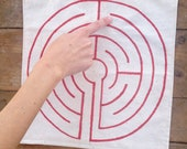 Finger Labyrinth, Complex Medieval Design, Hand-painted 12in x 12in Canvas, Custom Color