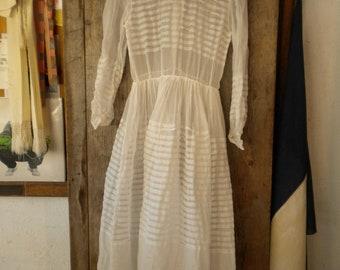 FRENCH first communion white organza cotton dress