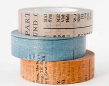 Old Book Washi Masking Tape Set - Printed Book Washi Tape - Scrapbook Washi Tape - Set of 3 Japanese Washi Tapes - Blue Grey Brown Washi