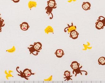 Monkey Fabric - Kawaii Japanese Fabric - White - Quilting Fabric - Animal Fabric - Cute Fabric for Kids - Monkeys and Bananas - HALF YD