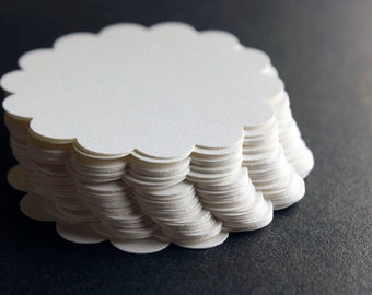 25 White Shimmer Scalloped Die Cut Paper Circles, Winter, Wedding, Scrapbook, Embellishments, Holidays, Baby Shower, Bridal Shower