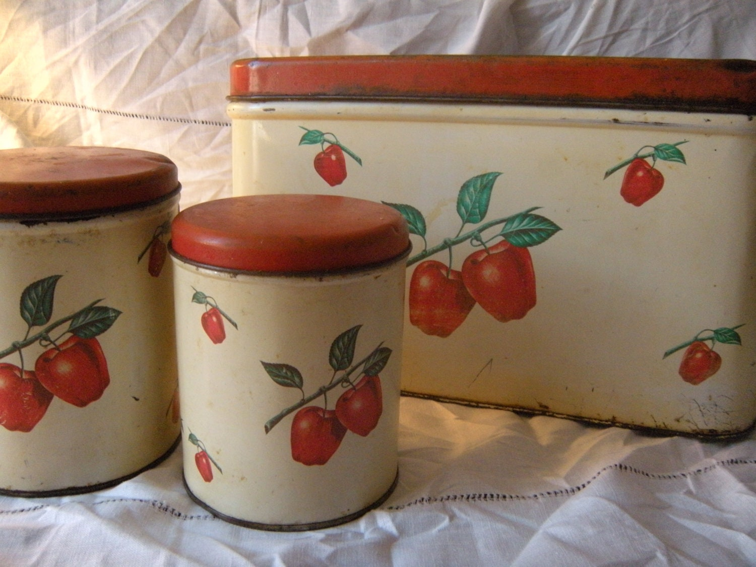 Vintage Kitchen 1940s Bread Box And Canister 3 Piece Apple Set