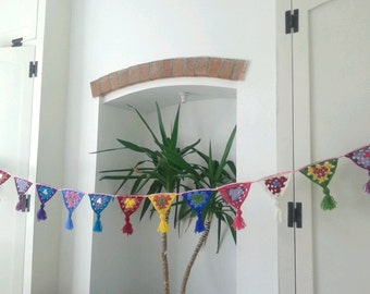 crochet bunting with tassels. nursery decoration, garden party, home decor