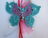 Crochet Light Blue Butterfly Necklace with czech crystals