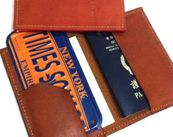 Passport holder with your name - brown/redbrown