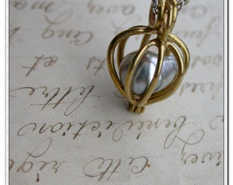 Genuine Tahitian Baroque Tear Drop silver gray sea pearl solid brass tiny box case cage bead locket solid silver chain necklace