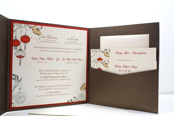 Bilingual Wedding Invitations: Bilingual English And Vietnamese Oriental By