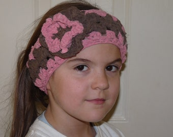 Crochet Custom Earwarmer Headband with Flower U Choose Color Hair Wrap Head Wrap