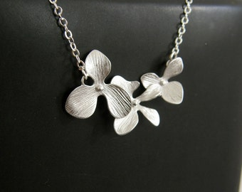 Cascading Silver Orchids Necklace, Wedding Jewelry, Bridal, Bridesmaid Gift, Mom Gift, Friend Gift