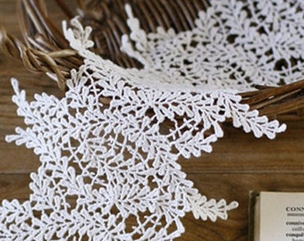 Off White Lace Trim Cotton Breeze Embroidered Lace Trim Exquisite Hollowed Out Lace Trim 5.7 Inches Wide 1 Yard Costume Headware Supplies