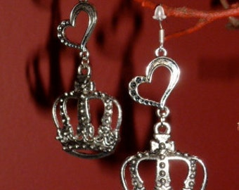 Antique Silver Royal Crown and Heart Earrings
