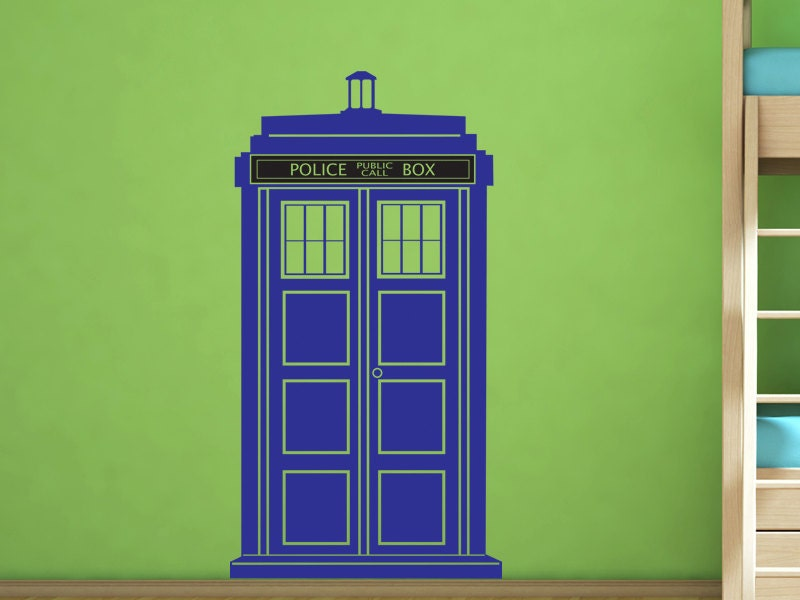 dr who tardis police call box vinyl wall decal by by walljems. Black Bedroom Furniture Sets. Home Design Ideas