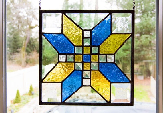 Stained Glass - Bevels with Blue, Green and Gold