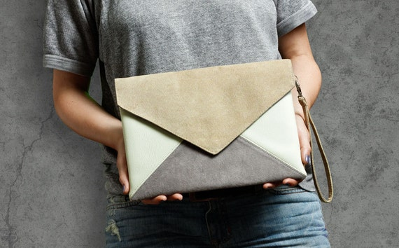 Clutch bag Letter Medium beige gray ivory - clutch purse / handbag - vegan / eco / faux / leather / suede - with strap / pocket - bridesmaid