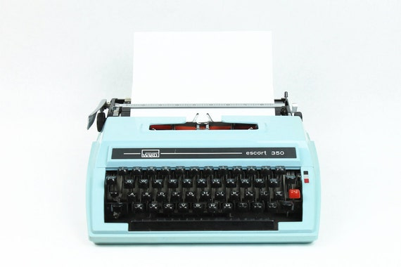 SALE - Monday Morning Sky Typewriter - RARE Mint Condition BLUE Montgomery Ward Escort 350 Portable