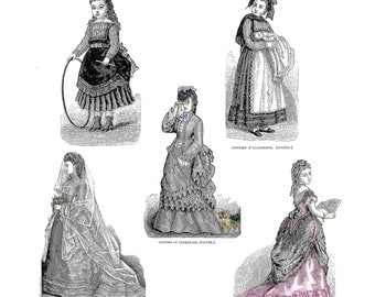 "1872 La Mode Illustree Pattern Book For 18"" Antique French Fashion Dolls with Ball Gown"