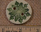 Christmas Green Ceramic Button with Snowflake Motif