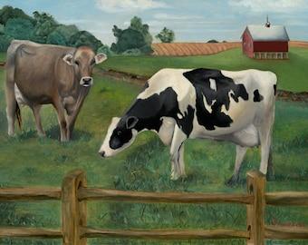 Cows Farm Print, Cow Painting