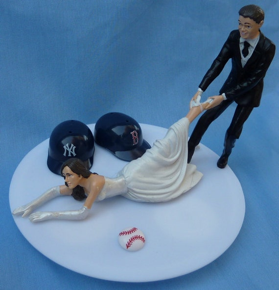 wedding cake toppers baseball theme wedding cake topper house divided baseball team rivalry themed 26390
