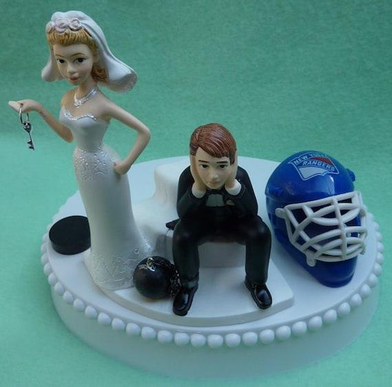 Wedding Cake Topper New York Rangers NY Hockey Themed Ball and Chain Key With Garter, Display Box