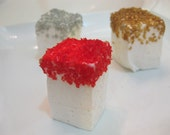 Champagne Marshmallows with gold, silver, black, or red glitter  - 1 dozen Gourmet homemade marshmallows