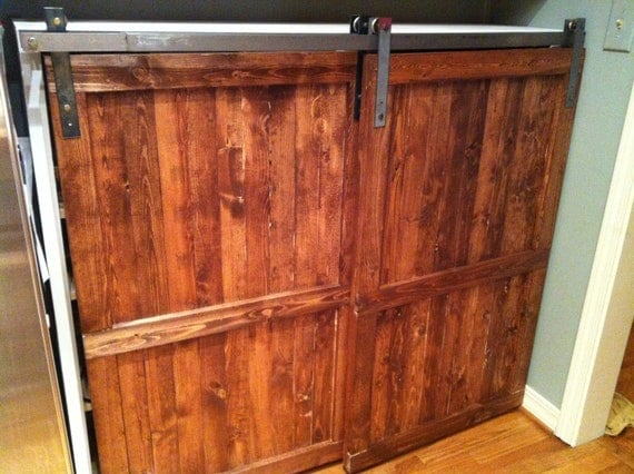 Items similar to barn door distressed wood cabinet custom kitchen furniture reclaimed wood for Distressed wood interior doors