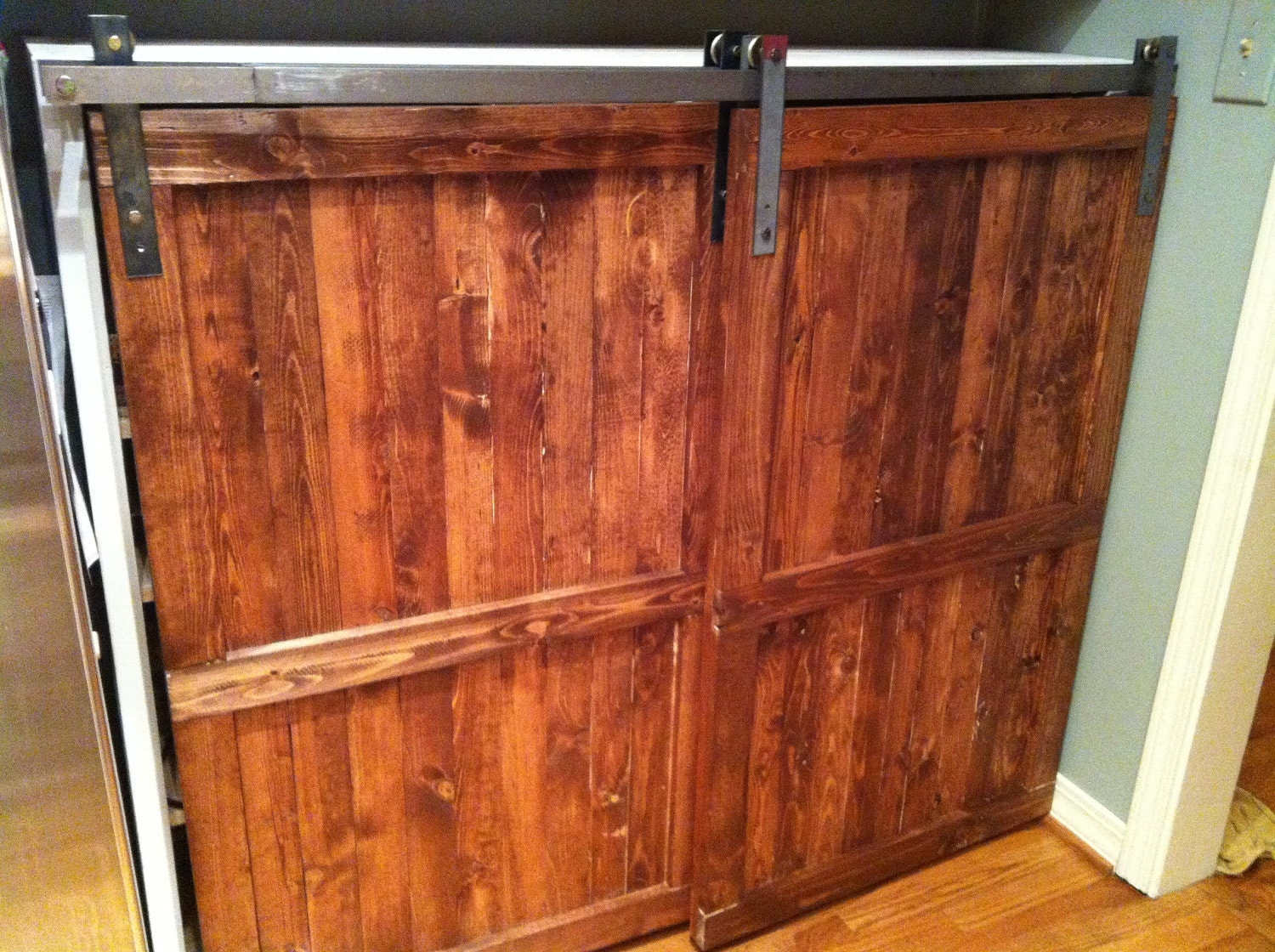 Barn door distressed wood cabinet custom by toolshedoriginals for Custom wood cabinets