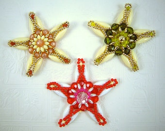 Vintage Beaded Star Ornaments, set of three