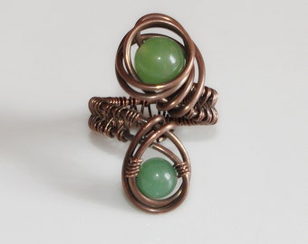 Unique adjustable ring, Green jade and copper ring, Wire wrapped jewelry