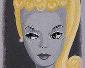 Mid Century Modern Eames Retro Limited Edition Print from Original Painting Platinum Barbie
