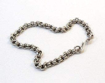 Argentium Silver Ankle Bracelet - Double Ring Weave