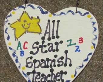 Teacher Gifts 5036  All Star Spanish Teacher Handmade