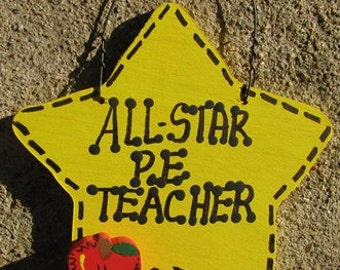 Teacher Gifts Yellow Star w/Apple 7014 All Star P E Teacher